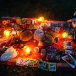oltář s dary...